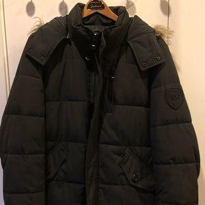 Calvin Klein Men's Black Faux-Fur Hooded Jacket